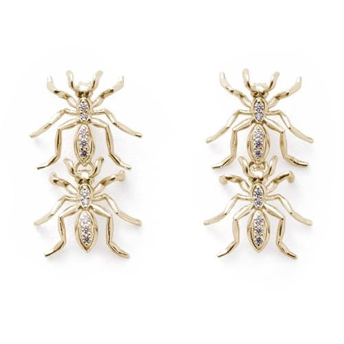 Double Ant Earrings in Diamonds and Yellow Gold - Curated Los Angeles