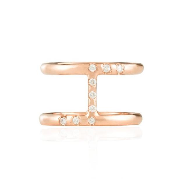 Two Band Diamond Rose Gold Ring