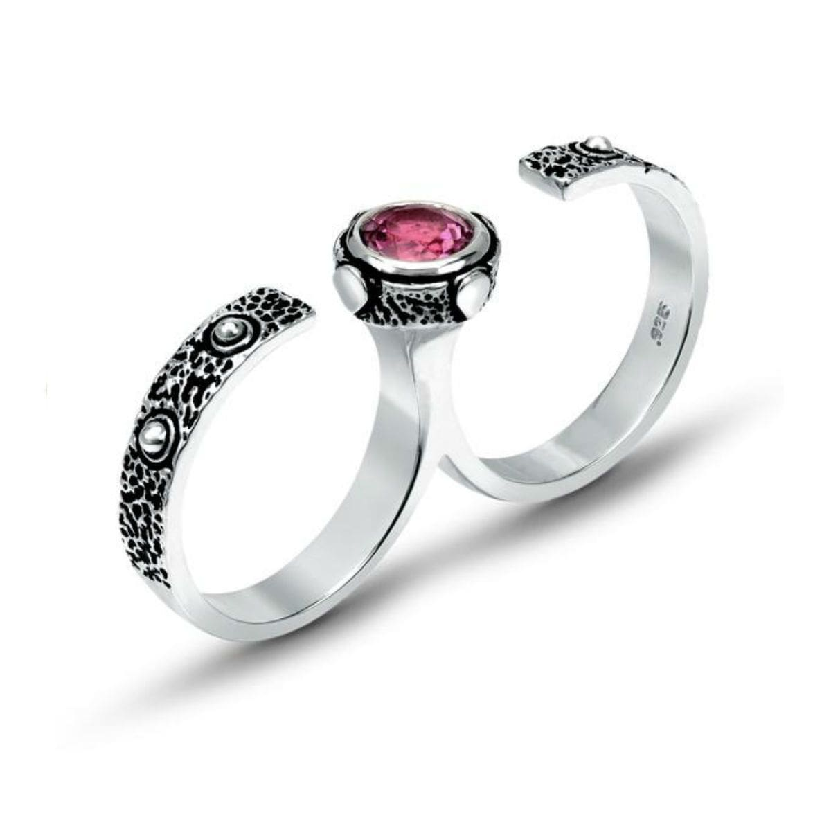 Pink Sapphire Double Finger Oxidized Silver Ring