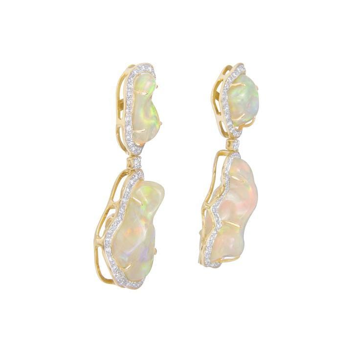 Free-form Double Opal Diamond Drop Earrings - Curated Los Angeles
