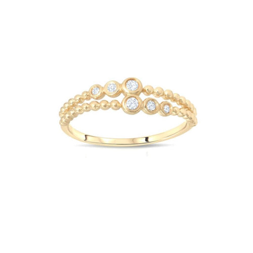 Diamond Two Row Gold Bead Ring