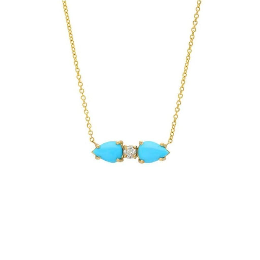 Double Turquoise White Topaz 14k Necklace - Curated Los Angeles