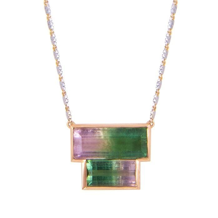 Double Watermelon Tourmaline Two Tone Gold Necklace M Spalten