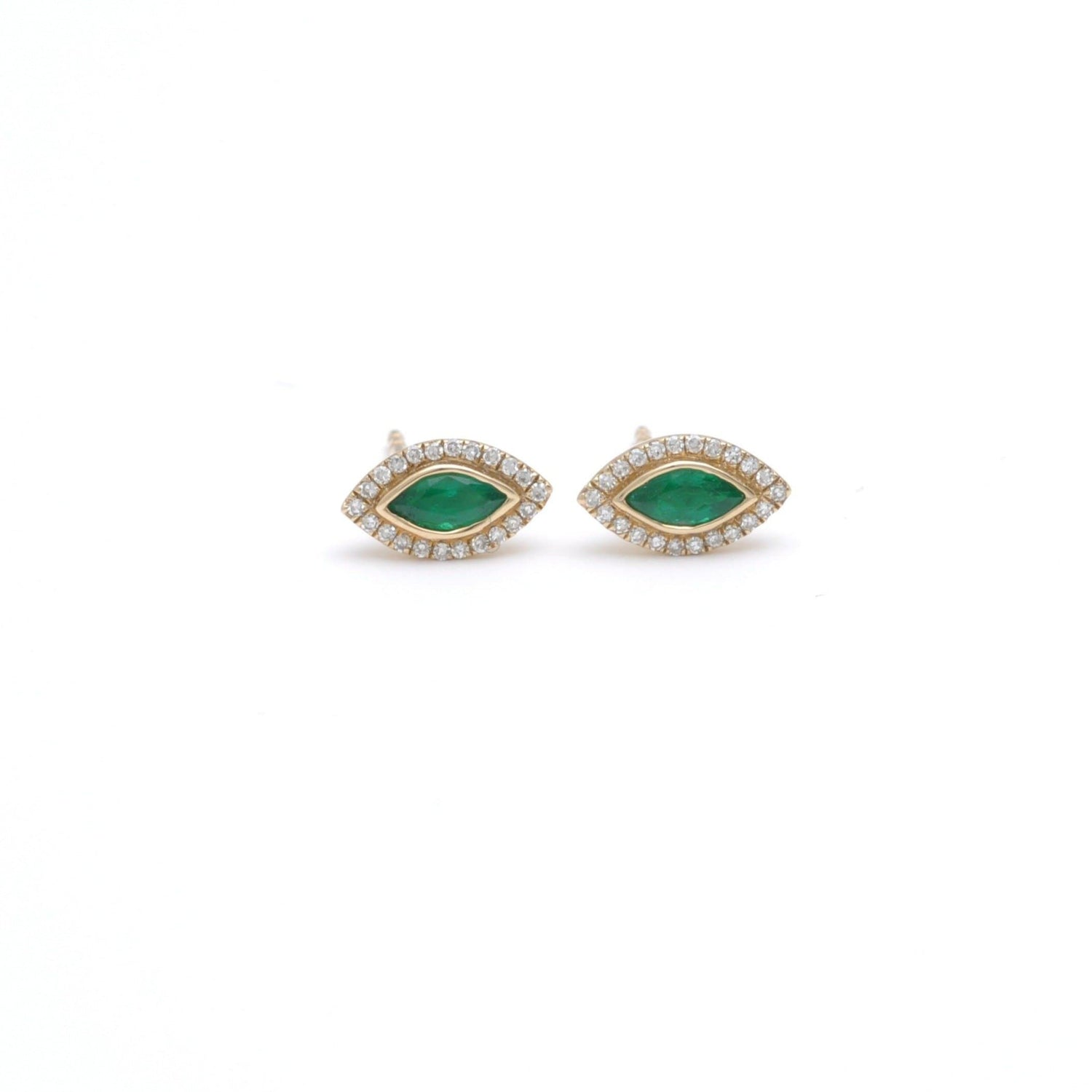 Marquise Emerald and Pave Diamond Stud Earrings
