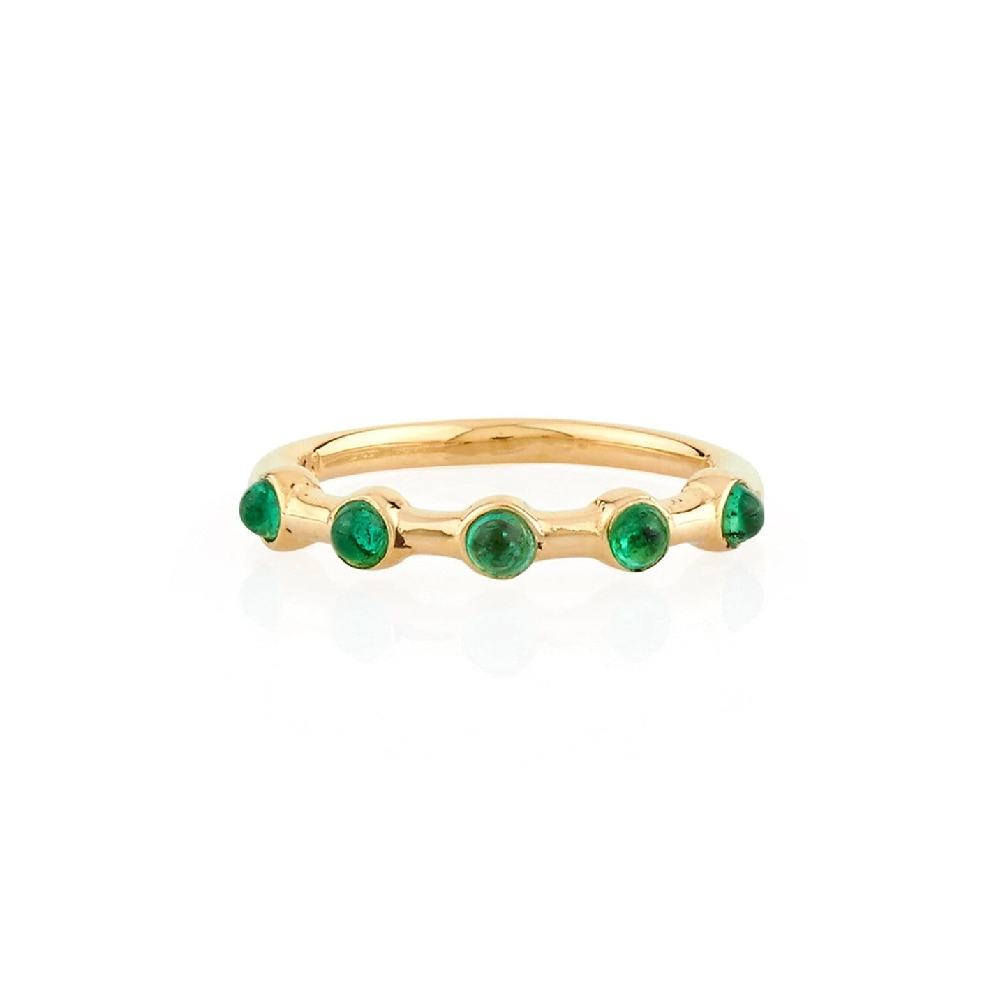 5 cabochon emerald gold band