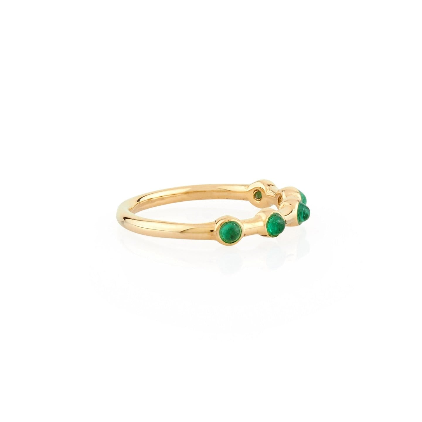 round emeralds stacking ring 14K