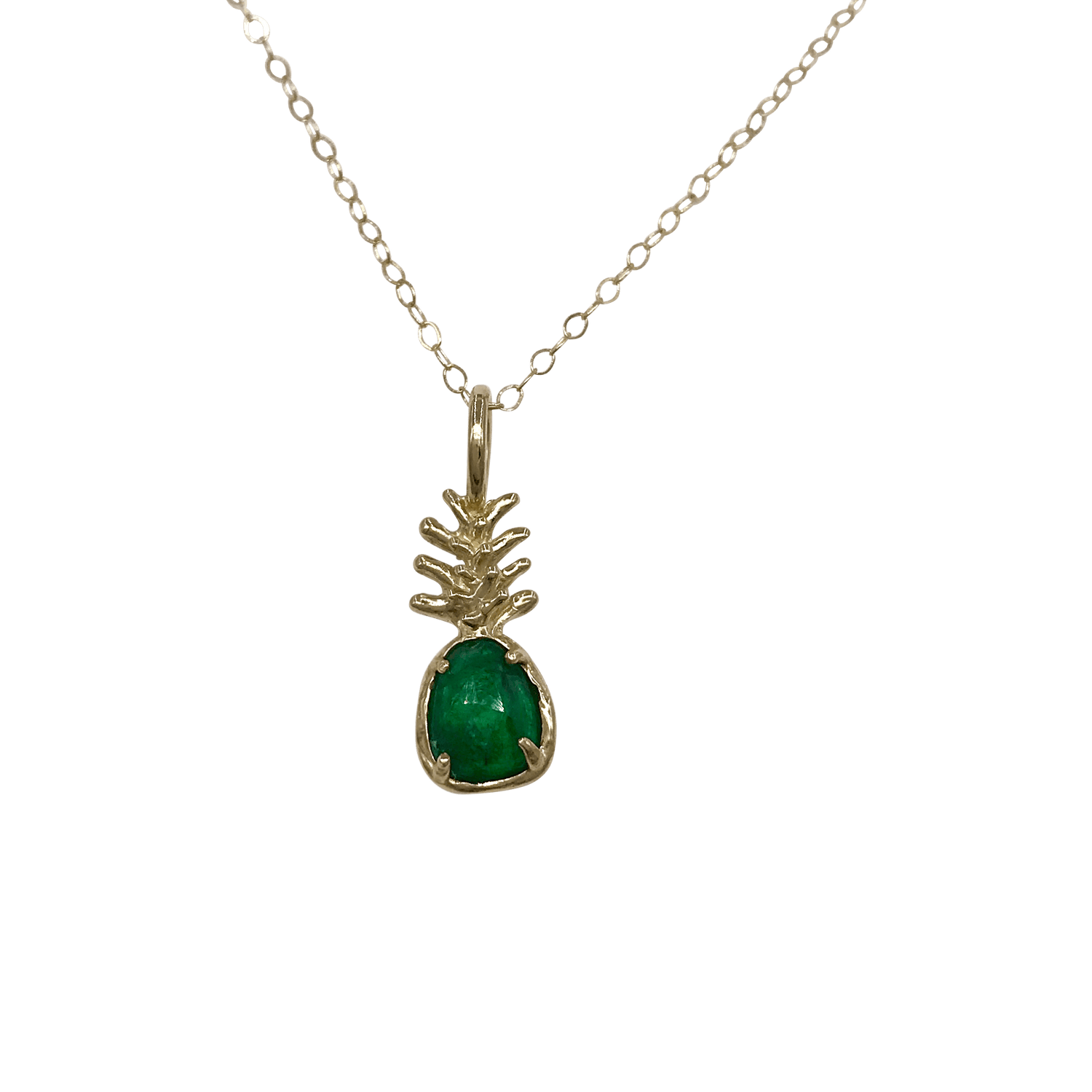 Emerald Pineapple Yellow Gold Necklace Morgan Patricia Designs