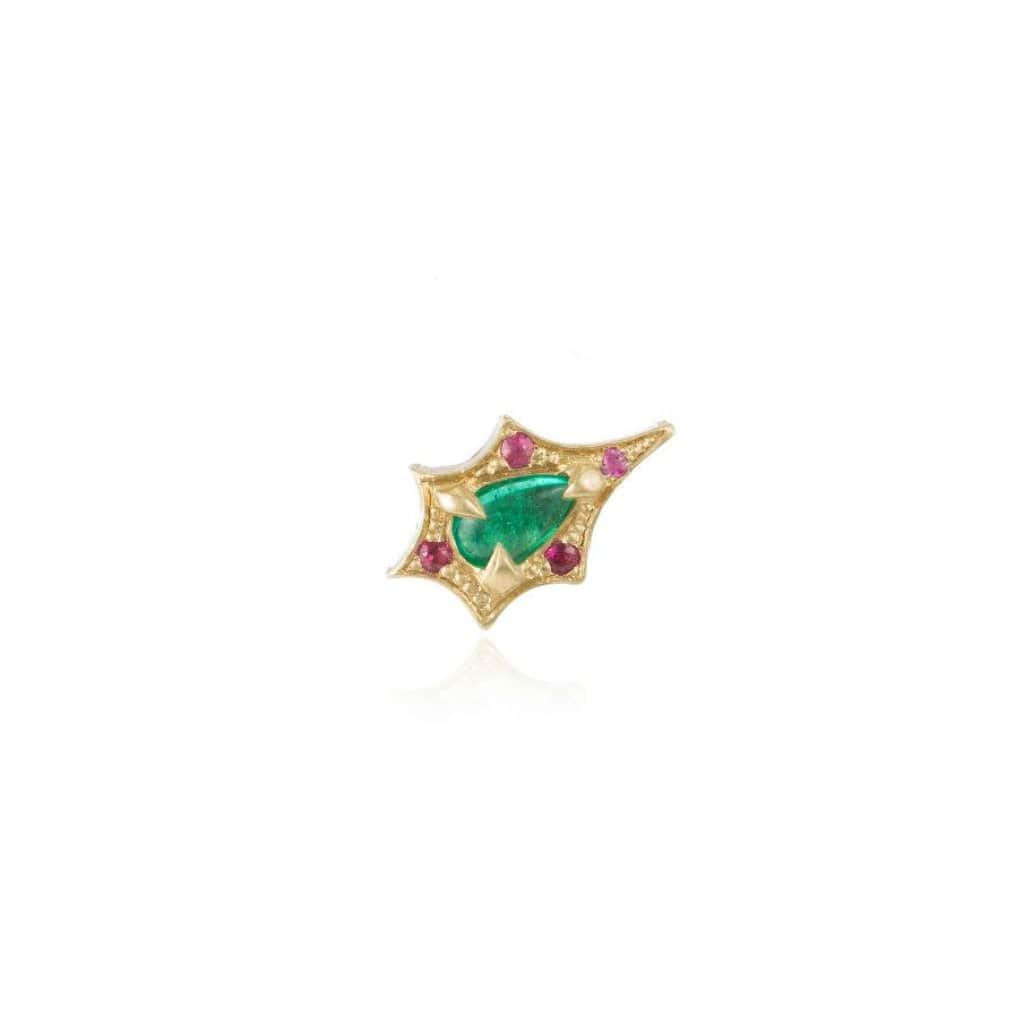 Small Emerald Pink Sapphire Gold Single Stud - Curated Los Angeles