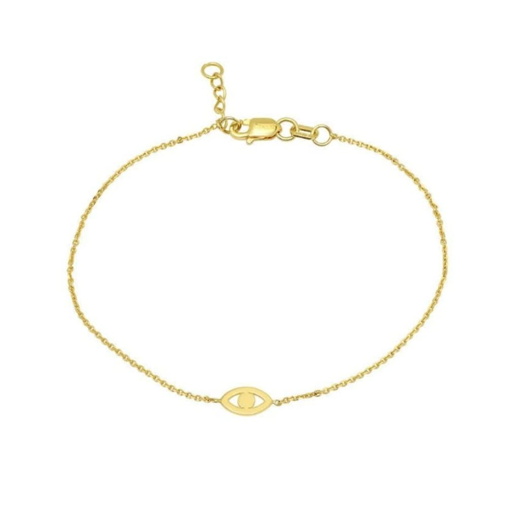 Mini Evil Eye Cutout 14k Chain Bracelet Caitlin nicole Curated Los Angeles