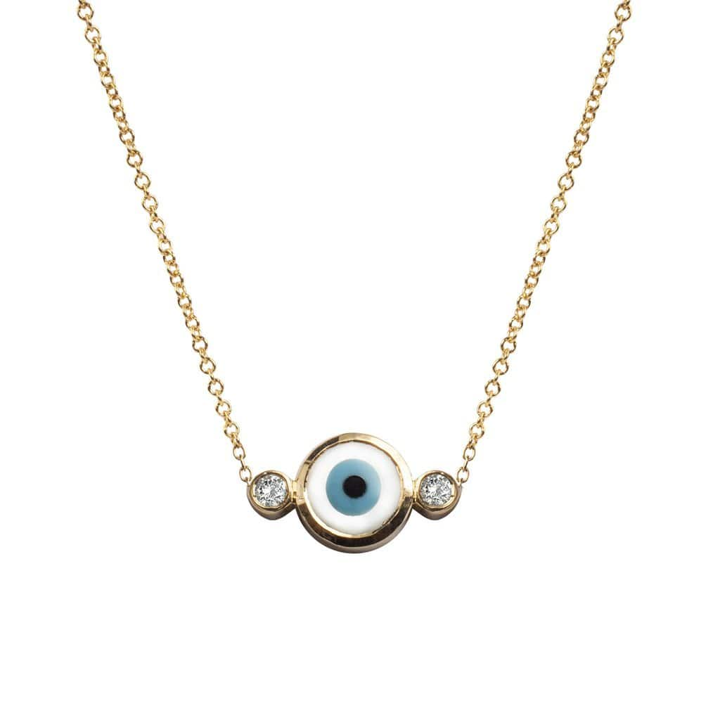 Diamond Mother of Pearl Evil Eye Necklace