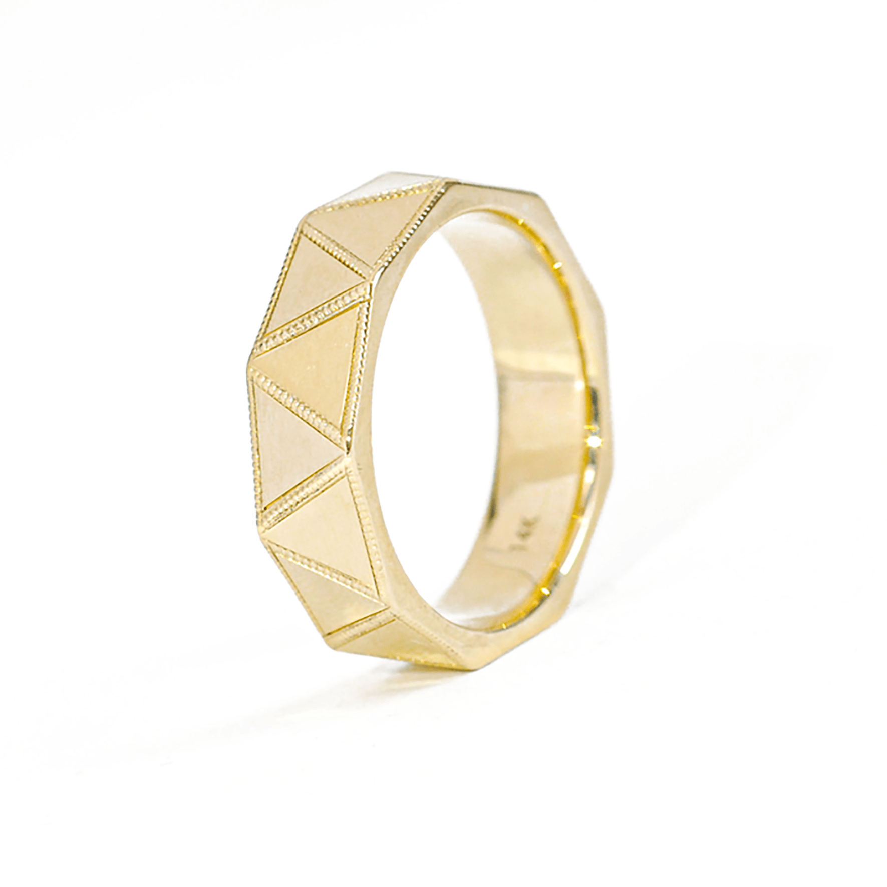 Faceted Yellow Gold Band