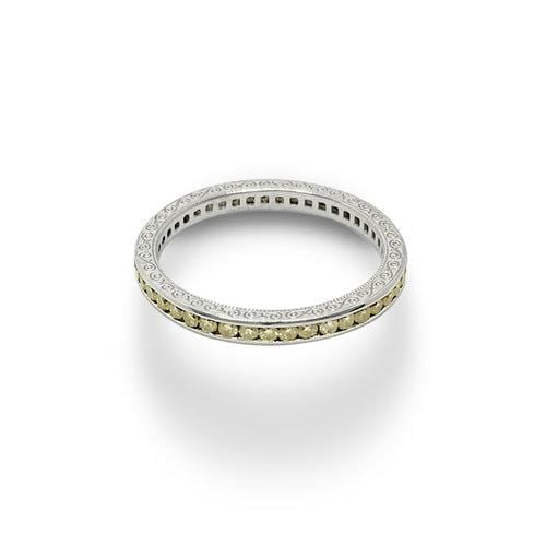 Fancy Yellow Diamond White Gold Eternity Ring