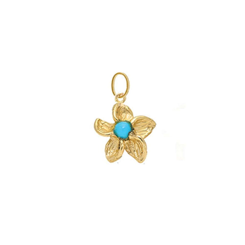 Turquoise Yellow Gold Plumeria Flower Charm