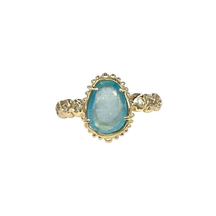 Chalcedony and Diamond Organic Ring