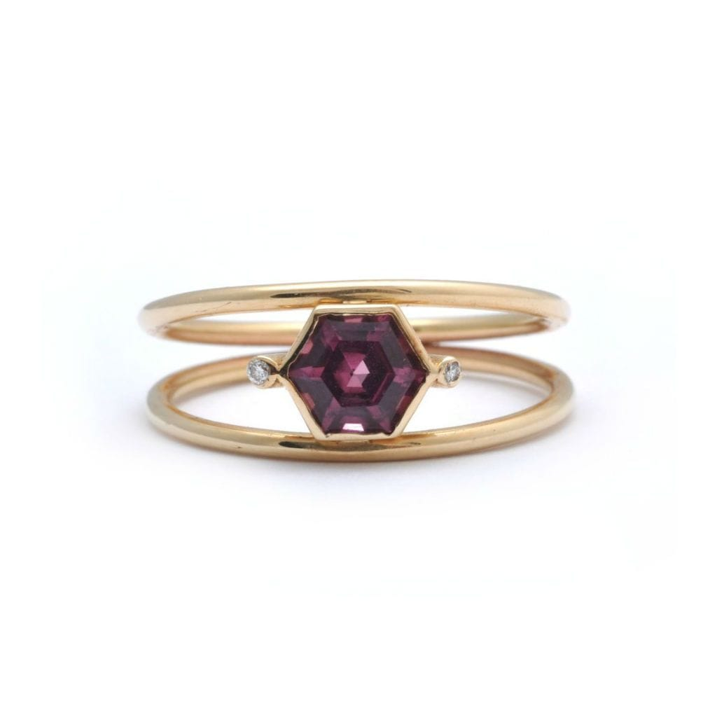 garnet hexagon ring