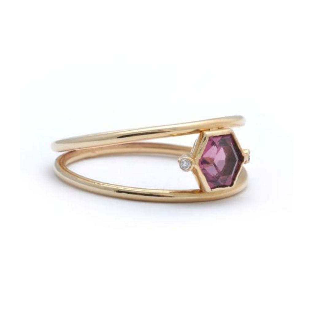 garnet double band ring
