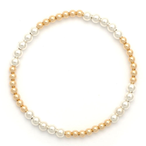 Karen Lazar 3mm Two Tone Silver and Gold Bead Bracelet - Curated Los Angeles