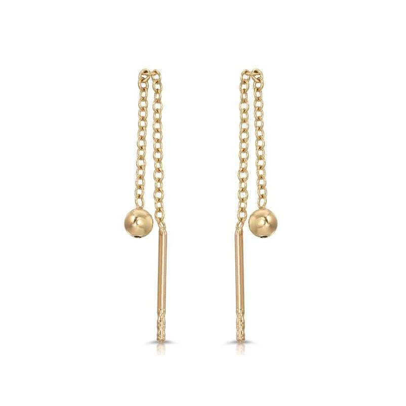 Yellow Gold Bead Threader Earrings