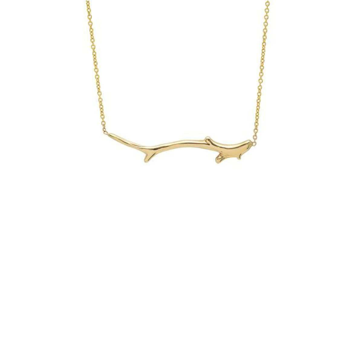 Coral Branch Yellow Gold Line Necklace