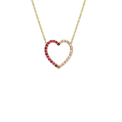 Large Ombre Red Pink Sapphire Heart Pendant Caitlin Nicole