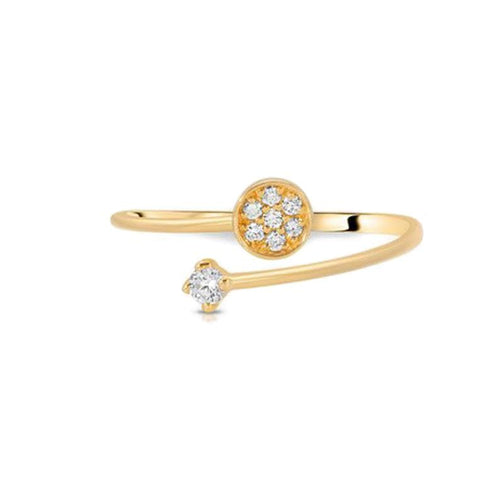 Diamond Pave Disc Gold Spiral Ring