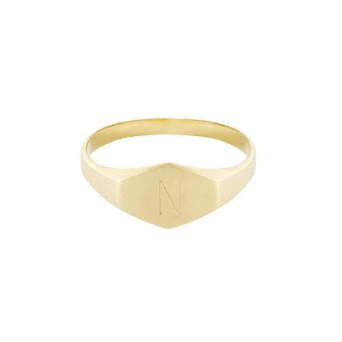 Signet Style Yellow Gold Ring - Curated Los Angeles
