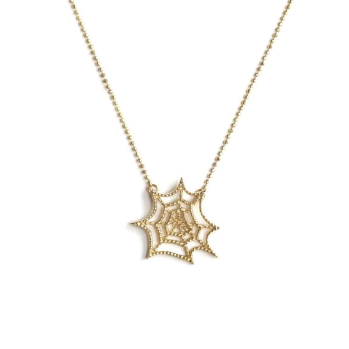 Spider Web Yellow Gold Pendant