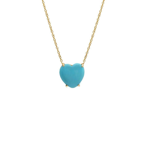 Turquoise heart yellow gold pendant
