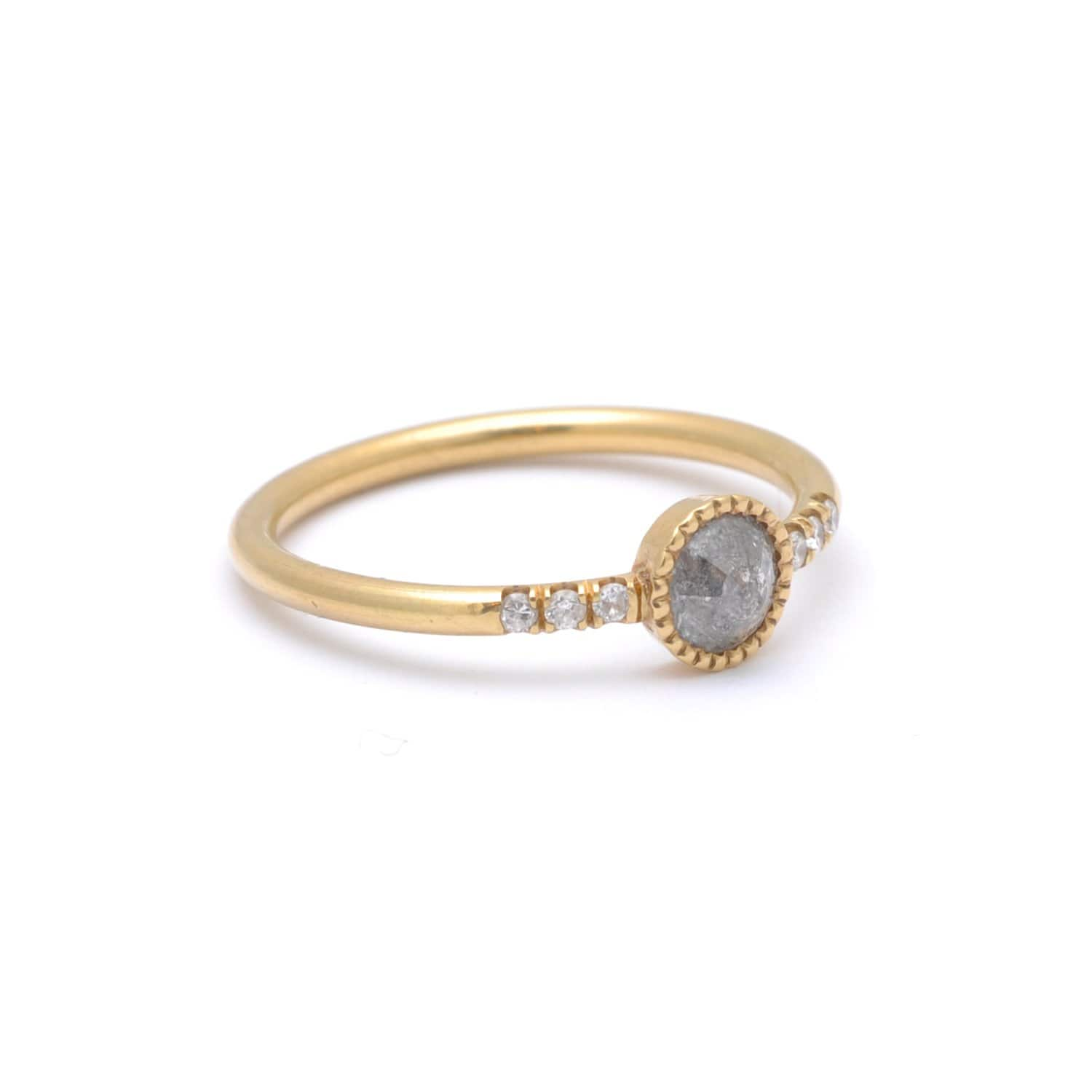 Grey Diamond Matte Gold Side Diamond Ring