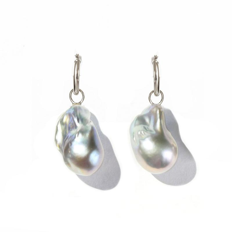 Gray Baroque Pearl Gold Hoop Earrings