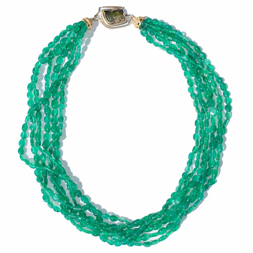 Green Chalcedony and Tourmaline Torsade Necklace - Curated Los Angeles