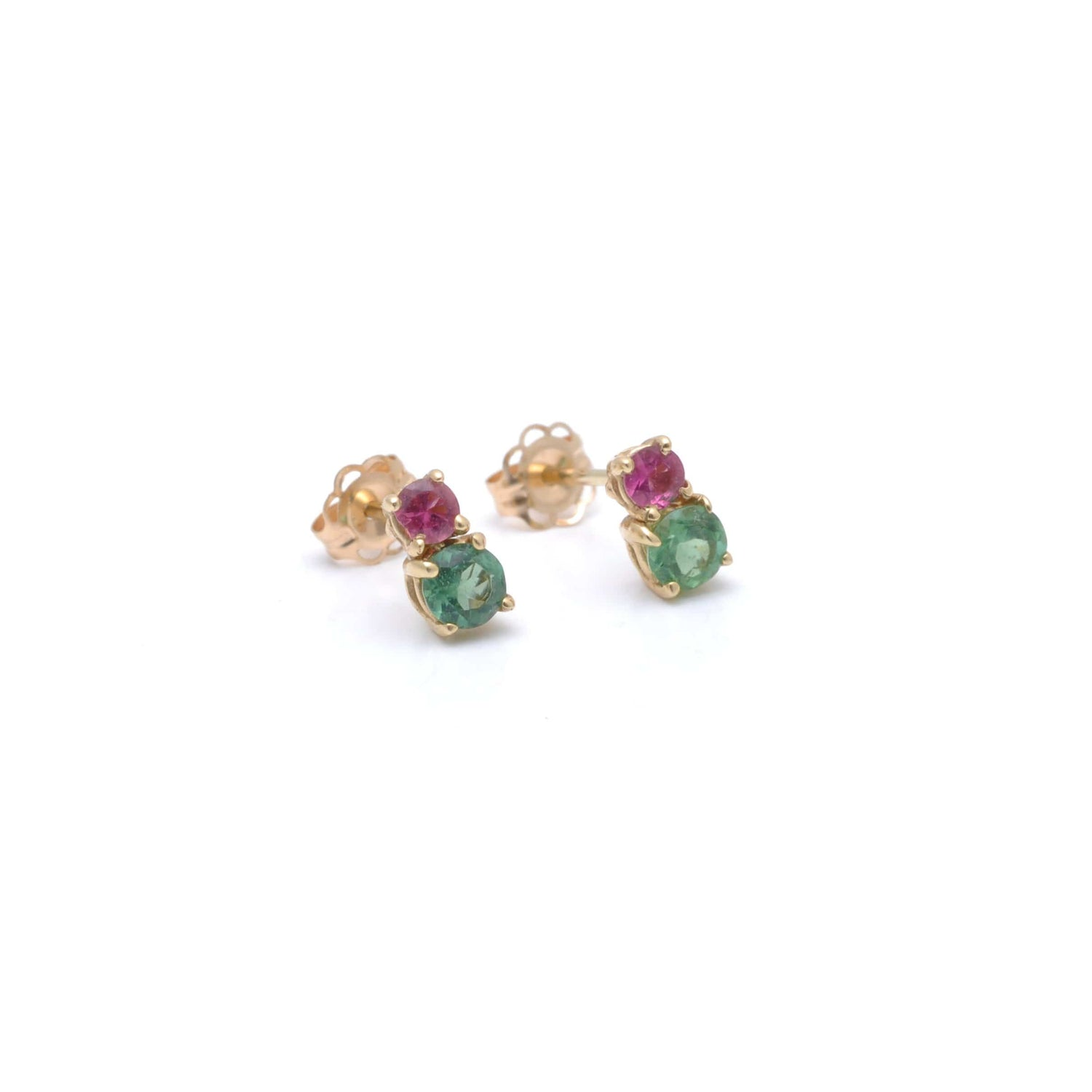 Green Tourmaline and Pink Tourmaline Earrings Caitlin Nicole