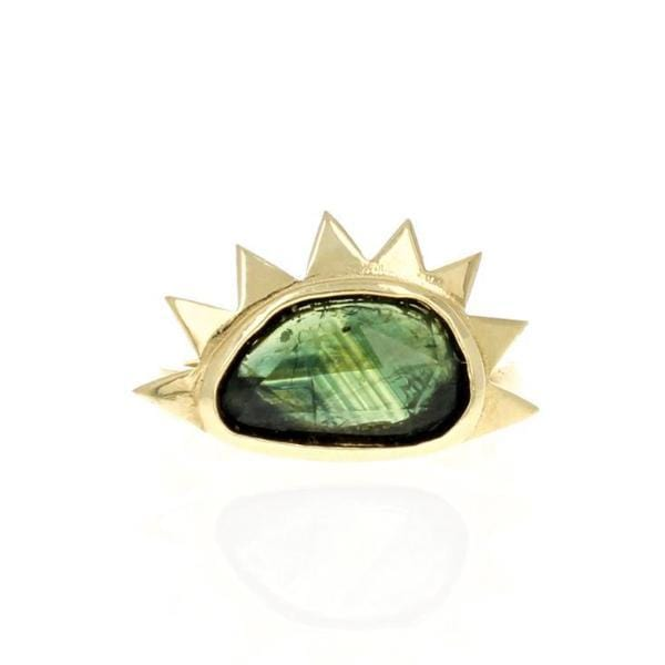 Green Sapphire Sunrise Cocktail Ring