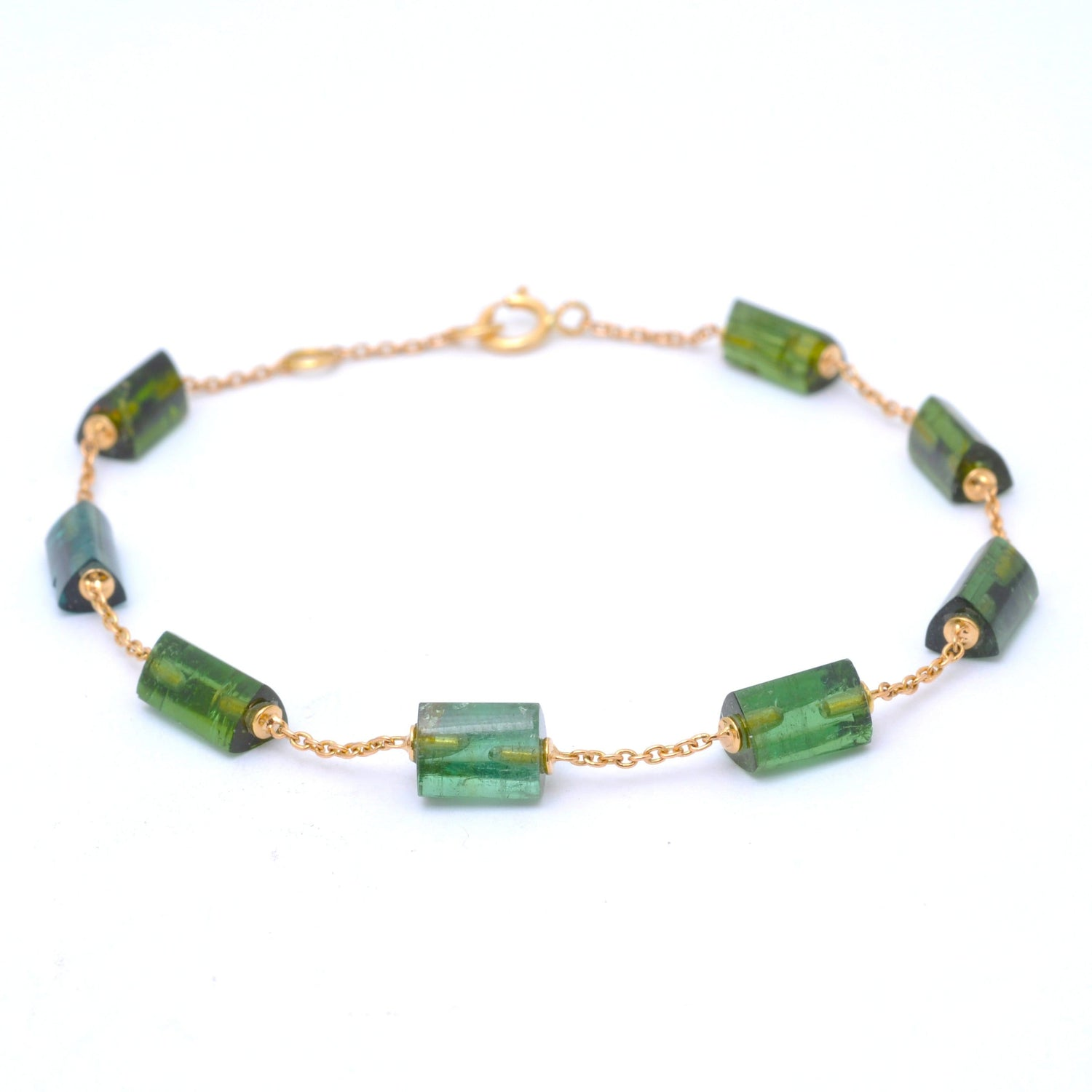 Green Tourmaline Yellow Gold Station Bracelet