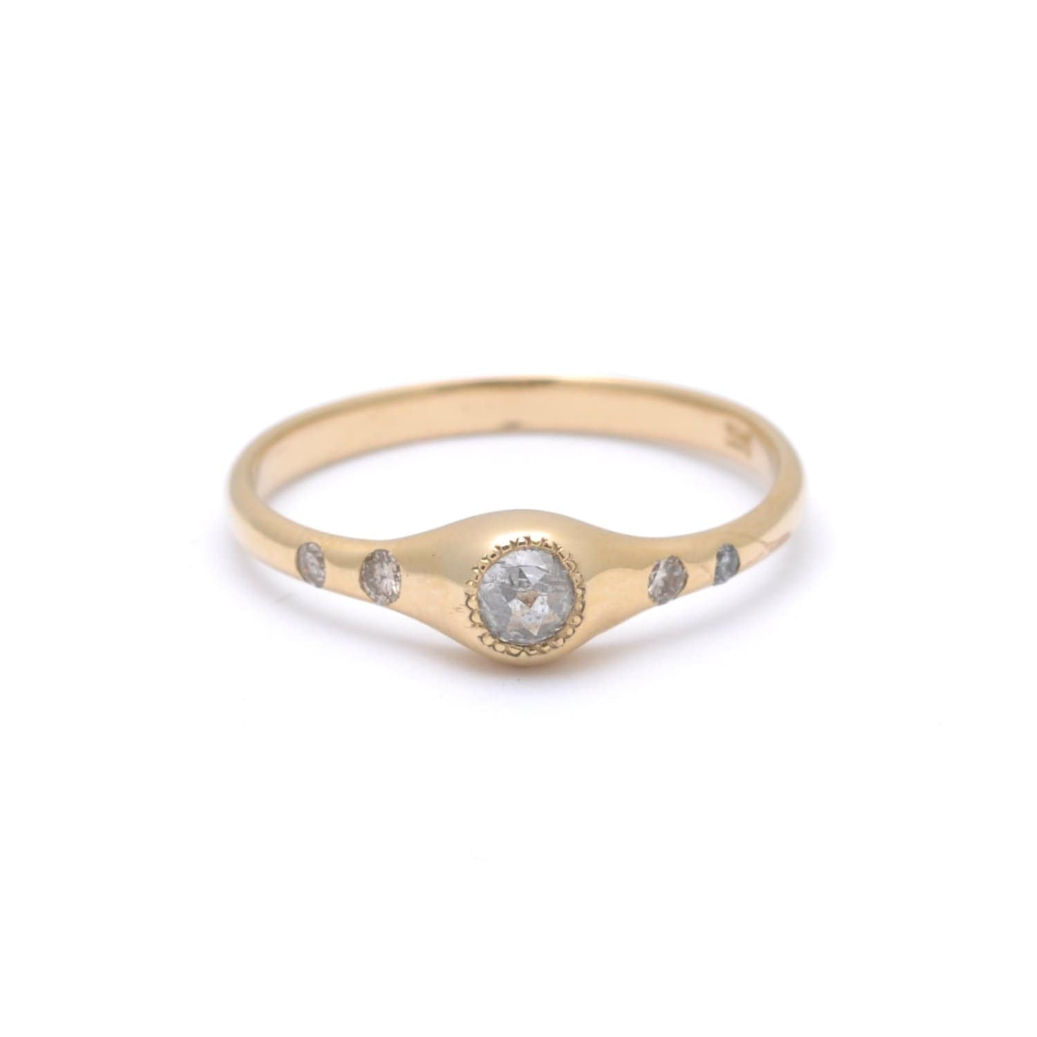 Milky Diamond Five Stone Gold Ring