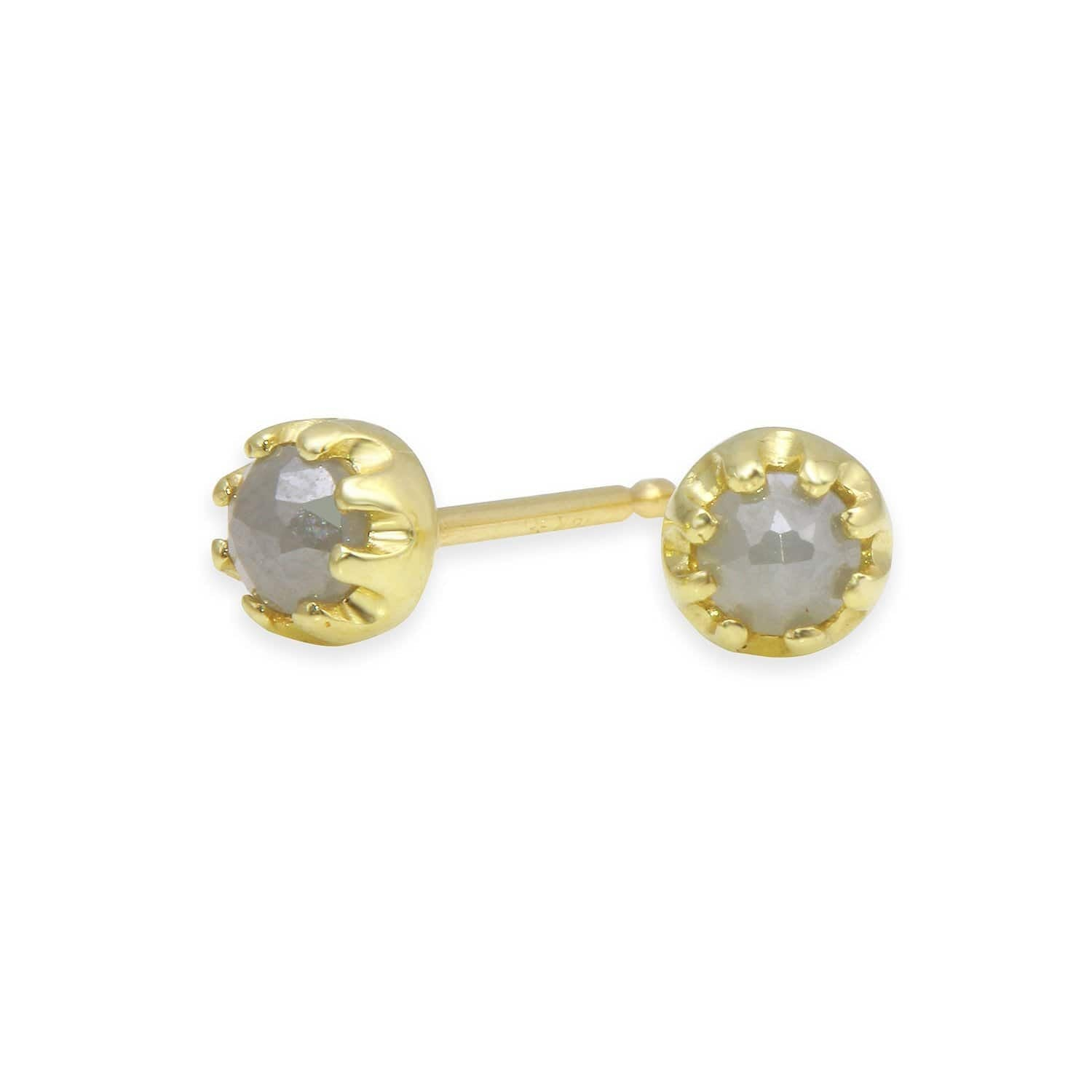 rustic grey diamond rosecut studs amanda lockrow