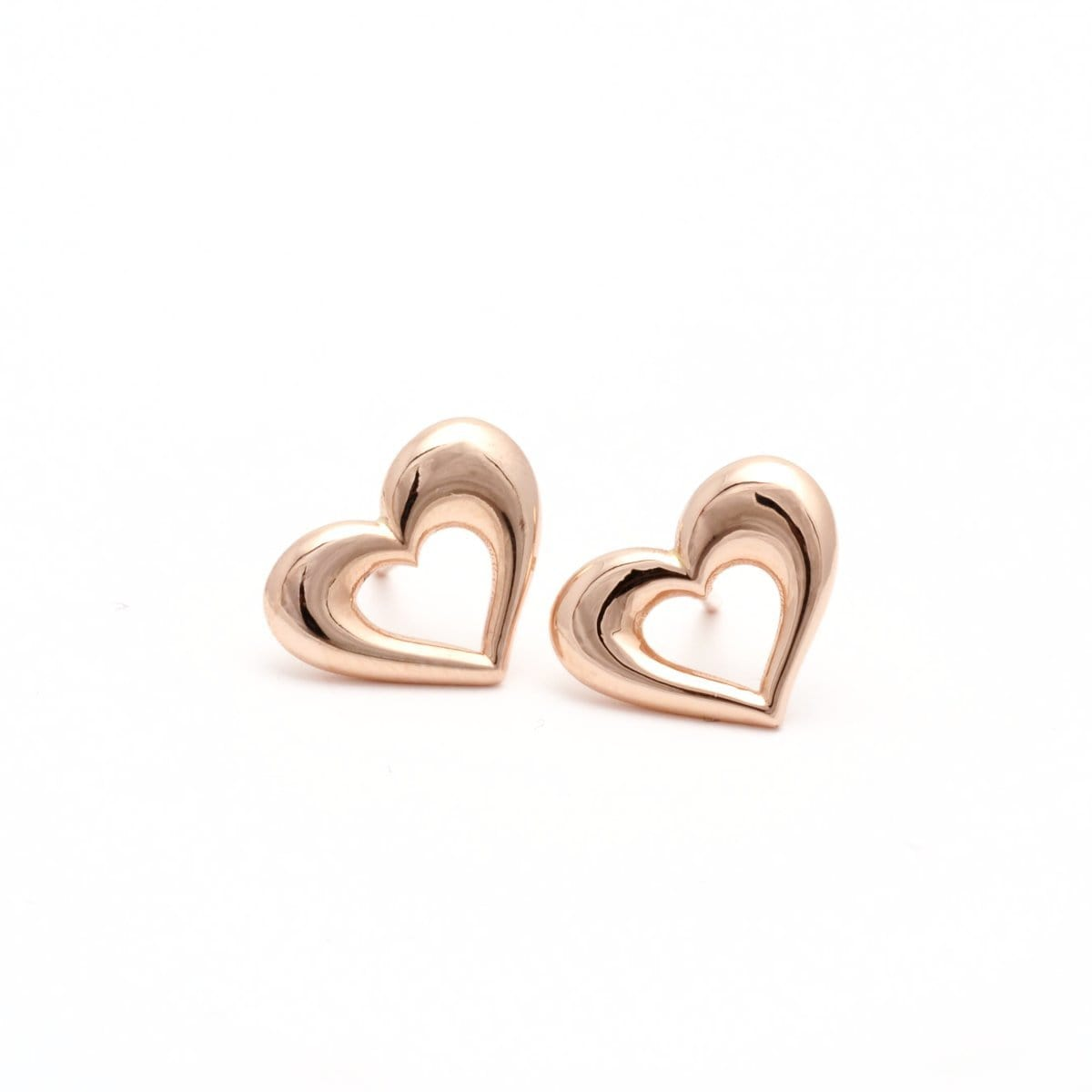 Puffy Heart 18K Rose Gold Earrings - Elizabeth Jane Atelier