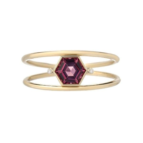 Garnet Hexagon and Diamond Ring - Curated Los Angeles