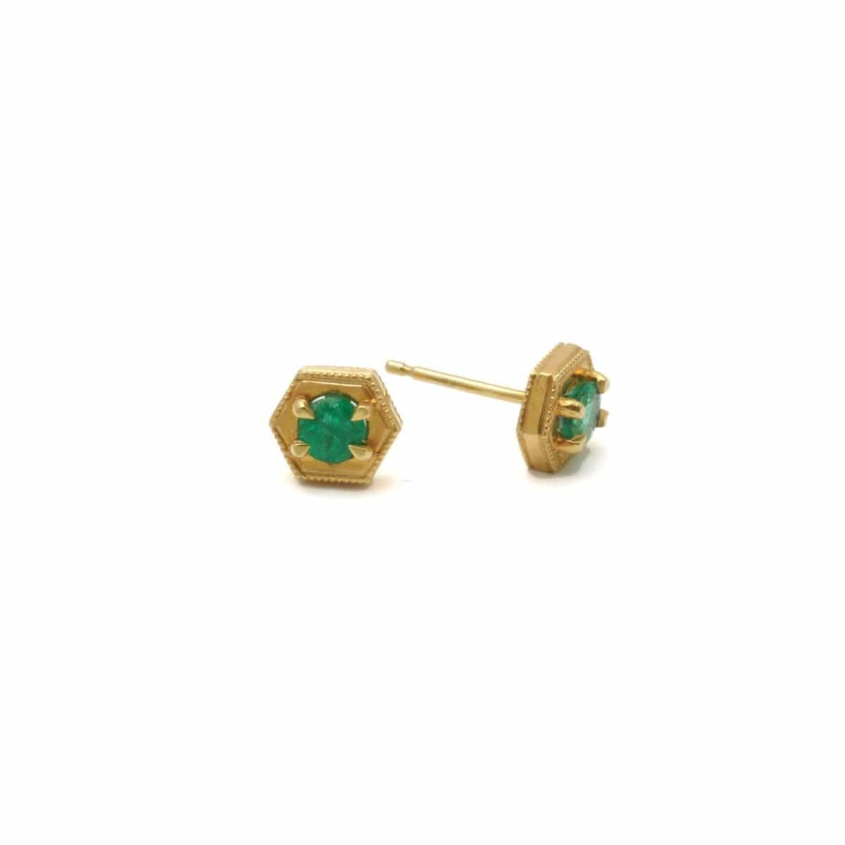 Green Emerald Gold Studs Suneera
