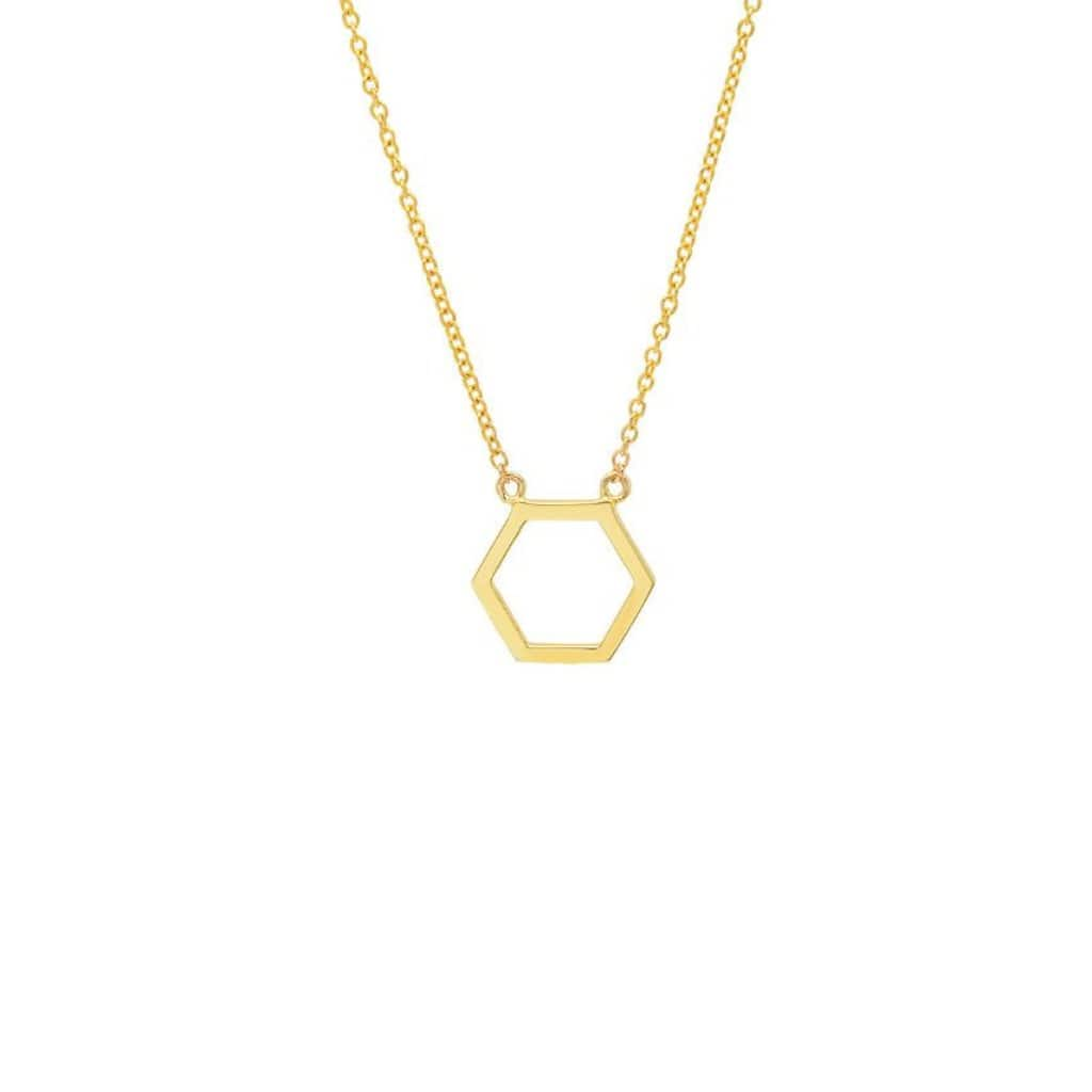 Hexagon Cutout 14k Station Necklace