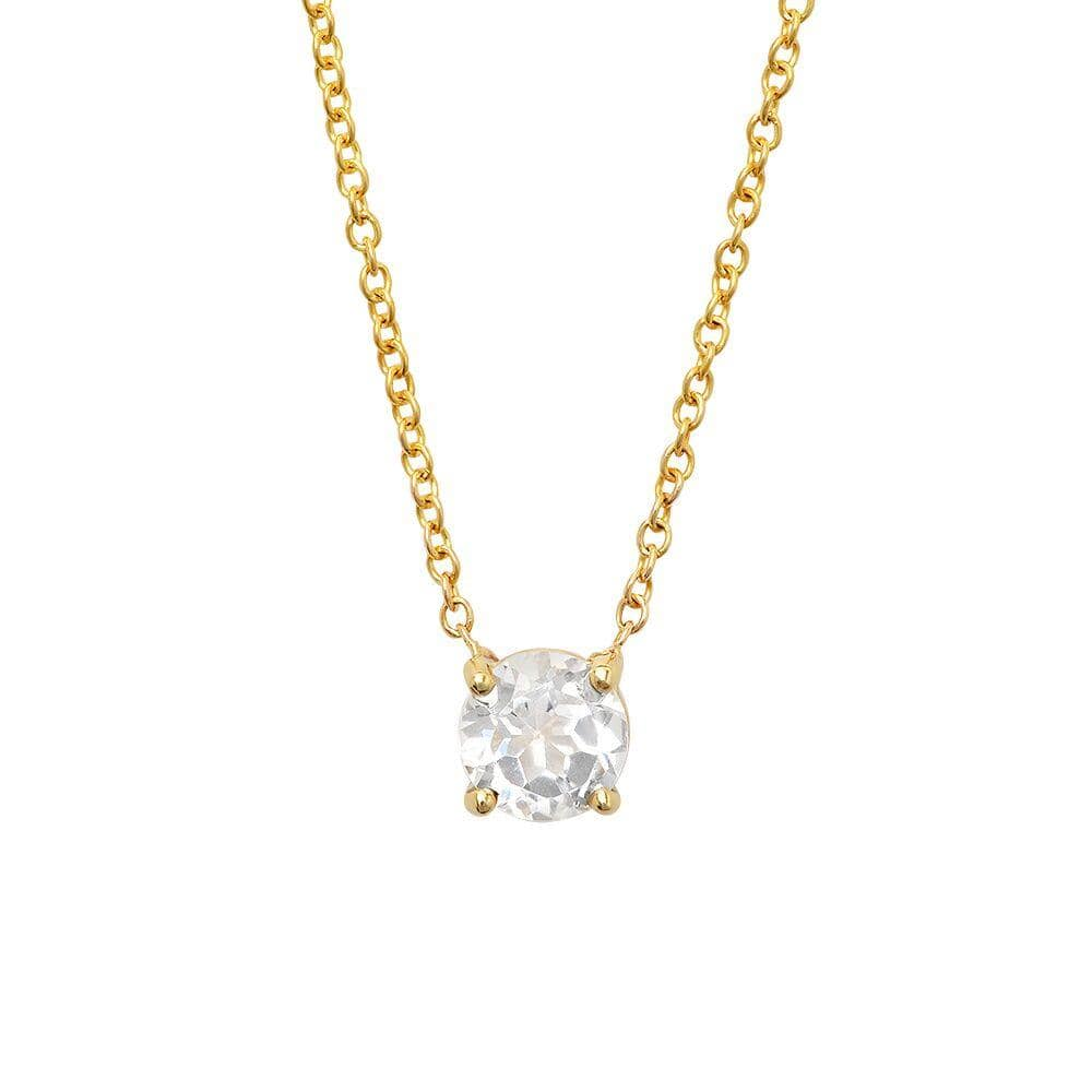 Round White Topaz Solitaire Necklace - Curated Los Angeles