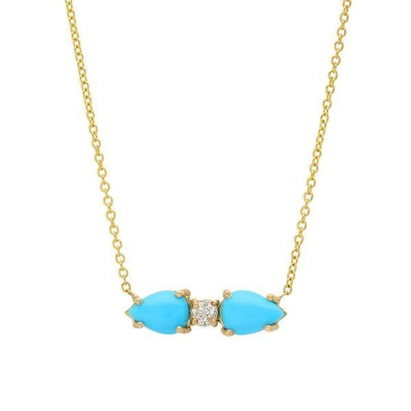 Pear Shape Turquoise Topaz 14k Necklace Caitlin Nicole