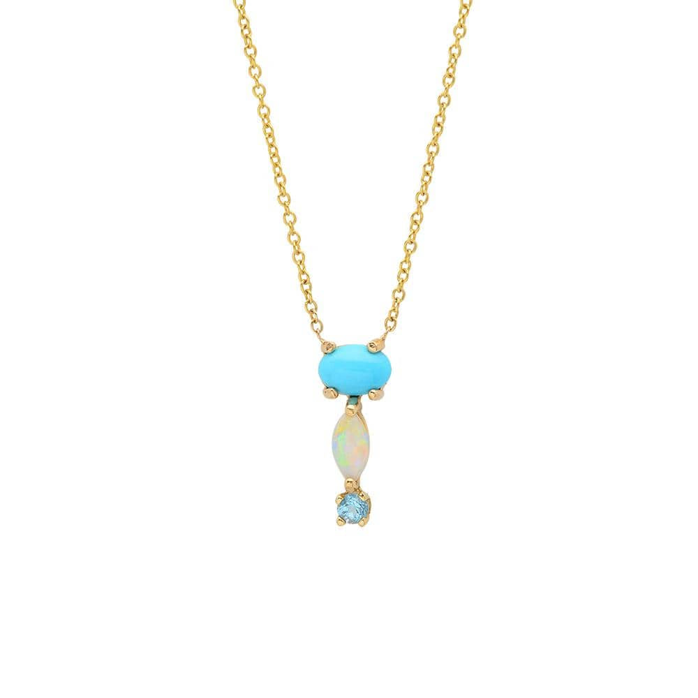 Turquoise Opal Blue Topaz Drop 14k Necklace - Curated Los Angeles