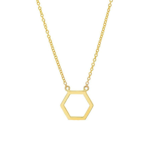 Hexagon Cutout 14k Station Necklace - Curated Los Angeles