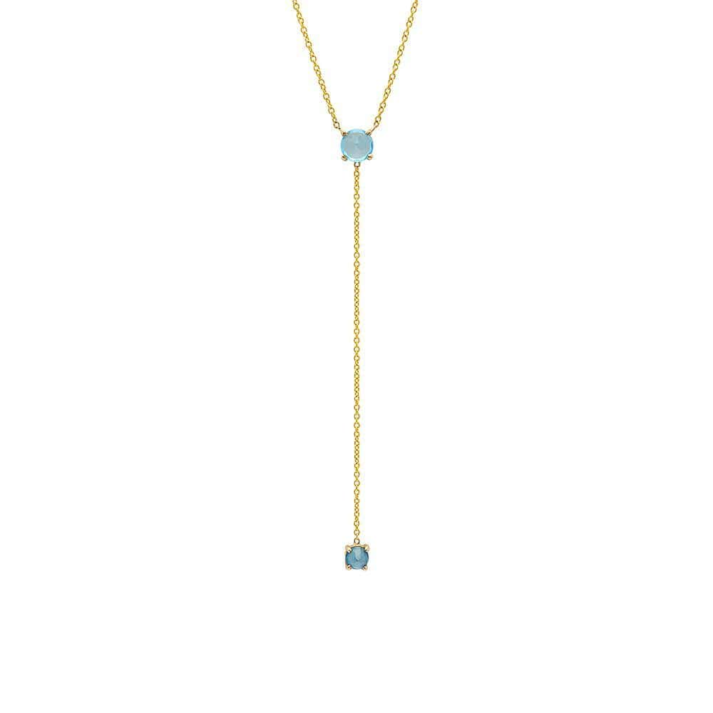Yellow Gold Blue Topaz Lariat Style Necklace Caitlin Nicole