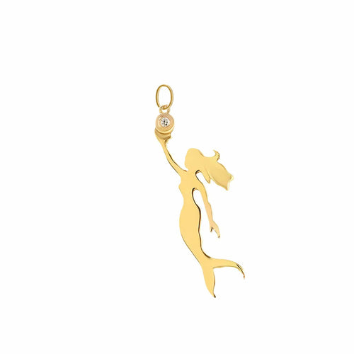 Mermaid Diamond Yellow Gold Charm