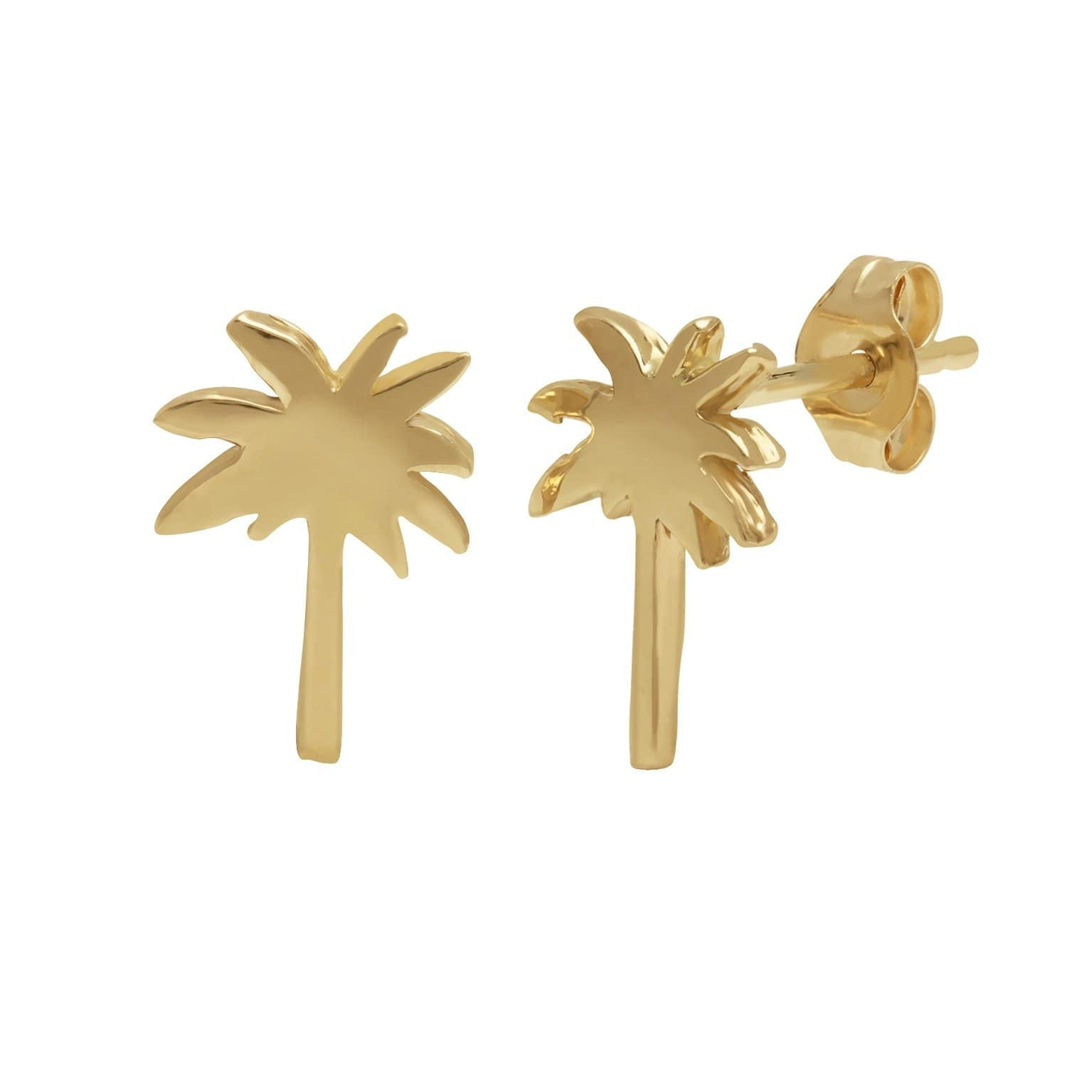 14k Yellow Gold Palm Tree Earrings Curated Los Angeles