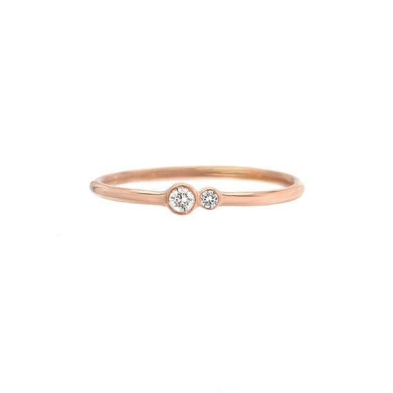 Kissing Diamond Delicate Rose Gold Ring