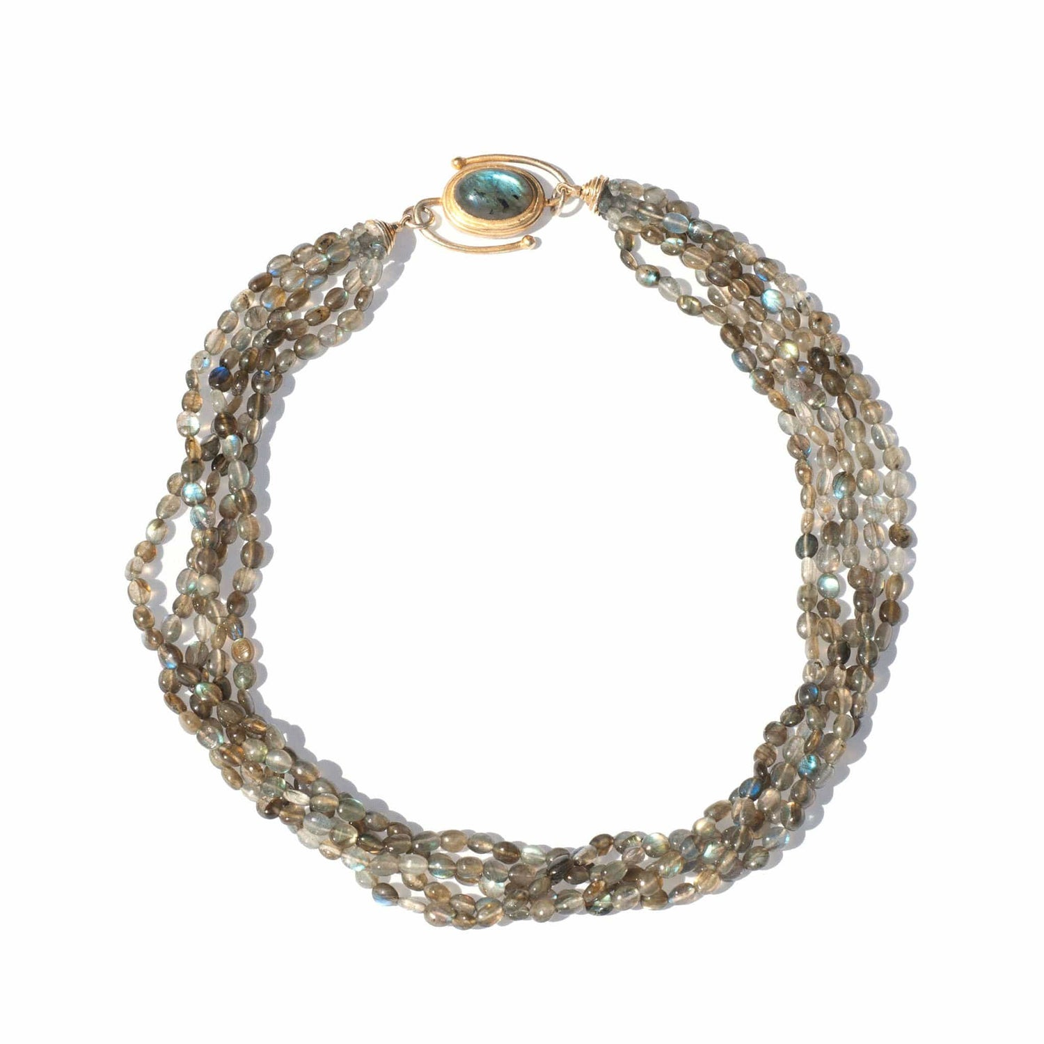 Labradorite Bead Torsade Necklace - Curated Los Angeles