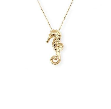 Large Seahorse Pendant in Yellow Gold - Curated Los Angeles